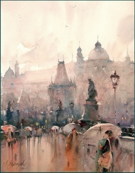 dusan-djukaric-umbrellas-on-the-charles-bridge-watercolor-54x74-cm