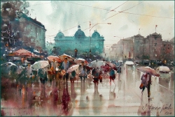 dusan-djukaric-umbrellas-on-the-square-watercolor-36x55-cm-gallery