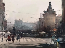dusan-djukaric-view-on-the-flower-square-watercolor-54x74-cm