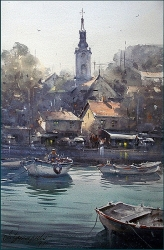 dusan-djukaric-view-on-zemun-from-river-36x55-cm