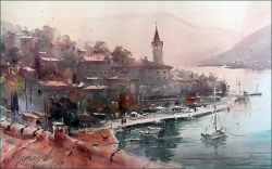 dusan-djukaric-view-over-roofs-perast-watercolor-36x55-cm