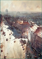 dusan-djukaric-view-over-terazije-watercolor-54x74-cm