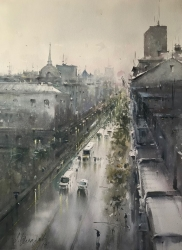 dusan-djukaric-view-trought-street-kralja-milana-watercolor-54x74-cm