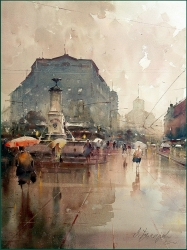 dusan-djukaric-walking-on-terazije-watercolor-66x50-cm