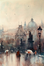 dusan-djukaric-watercolor-charles-bridge-prague-36x54-cm