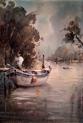 dusan-djukaric-watercolor-fisherman-on-danube-38x56-cm