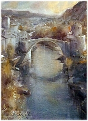 dusan-djukaric-watercolor-mostar-28x38-cm
