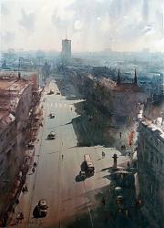 dusan-djukaric-watercolor-view-on-terazije-54x74-cm-galery