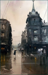 dusan-djukaric-wet-street-watercolor-36x55-cm