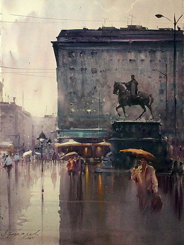 Dusan Djukaric, Watercolour, Rain