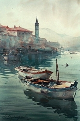 boats-in-perast-watercolor-36x55-cm