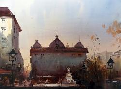 dusan-djuakric-morning-at-square-belgrade-watercolor-56x76-cm