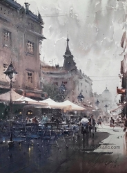 dusan-djukaric-afternoon-espresso-in-knez-watercolor-74x54-cm