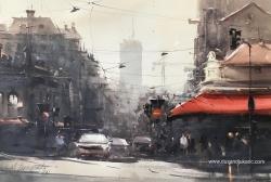dusan-djukaric-pogled-niz-balkansku-ulicu-akvarel-63x43-cm