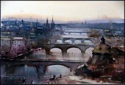 dusan-djukaric-watercolor-bridqe-of-praque-38x56-cm