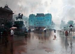 dusan-djukaricim-waiting-im-waiting-in-the-rain-at-watercolor-54x74-cm