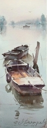 dusan-djukaricold-fishing-boats-watercolor-18x49-cm