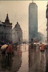 dusan-djukaric-akvarel-prolecna-kisa-beogradjanka-38x56-cm