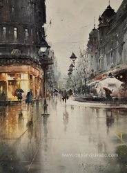 dusan-djukaric-at-the-sink-in-knez-watercolor-74x54-cm