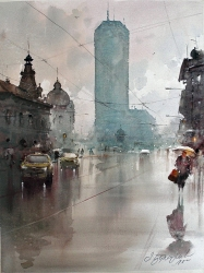 dusan-djukaric-beogradjanka-watercolor-49x53-cm