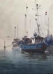 dusan-djukaric-blue-boats-watercoor-54x74-cm
