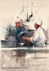 dusan-djukaric-cooks-watercolor-36x55-cm