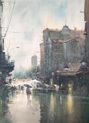 dusan-djukaric-first-autumn-rain-in-knez-watercolor-54x74-cm