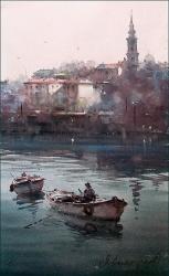 dusan-djukaric-fisherman-on-sava-29x48-cm