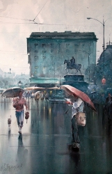 dusan-djukaric-i-am-on-the-square-at-watercolor-65x100-cm-sajt