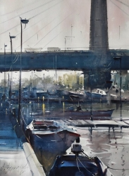 dusan-djukaric-morning-under-bridge-on-aada-watercolor-74x54-cm