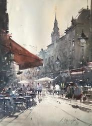 dusan-djukaric-noon-in-the-street-of-king-petra-watercolor-74x54-cm