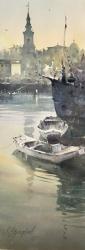 dusan-djukaric-old-boats-watercolor-26x74-cm
