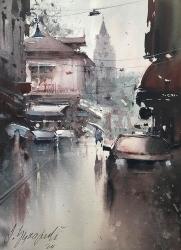 dusan-djukaric-one-rainy-day-zemun-watercolour-36x26cm