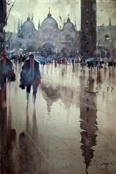 dusan-djukaric-rainy-day-in-st-marks-square-watercolor-38x56-cm