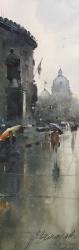 dusan-djukaric-rainy-day-on-square-nikola-pasic-watercolor-18x55-cm