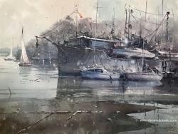 dusan-djukaric-sailboatd-on-danube-watercolour-74x54cm