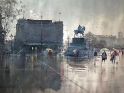 dusan-djukaric-square-in-belgrade-watercolor-111x84-cm