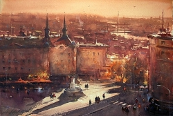 dusan-djukaric-sunset-on-terazije-watercolor-38x56-cm