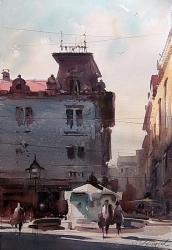 dusan-djukaric-the-fountain-in-knezu-watercolor-38x54-cm