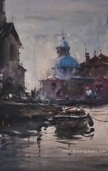 dusan-djukaric-the-view-on-gospa-od-skrpjela-watercolour-56x36cm