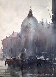dusan-djukaric-two-boats-in-venice-watercolor-54x74-cm