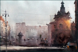 dusan-djukaric-view-on-flower-square-watercolor-54x36-cm