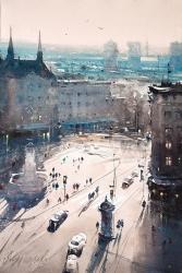 dusan-djukaric-view-over-terazije-plateau-watercolor-36x54-cm