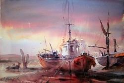 dusan-djukaric-watercolor-fishing-boats-38x56-cm
