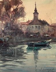 dusan-djukaric-watercolor-morning-in-danube-zemun-38x49-cm