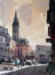 dusan-djukaric-watercolor-rajiceva-street-28x38-cm
