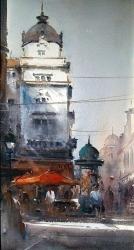 dusan-djukaric-watercolor-russian-emperor-belgrade-24x44-cm