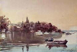 dusan-djukaric-zemun-from-danube-watercolor-38x56-cm