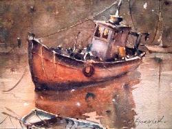 dusan-djukaricwatercolor-boats-29x21-cm